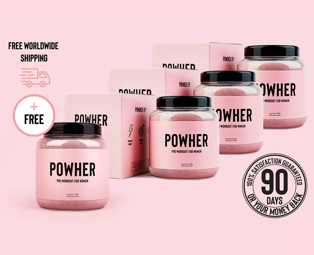 4 containers of Powher Pre-workout plus one free box